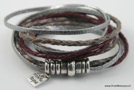 Wikkelarmband magneet combi grijs bordeaux