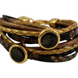 Wikkelarmband leren bandjes zwart, brons en goudkleur met schuivers