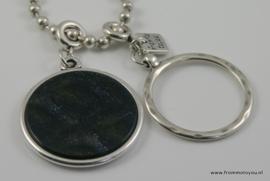 Lange ketting ballchain ronde hanger zwart/blauw/grijs