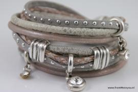Handgemaakte leren armband grijs/zacht roze leer diverse bandjes