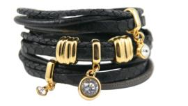 Leren wikkelarmband zwarte bandjes met goudkleurige schuivers en hangers