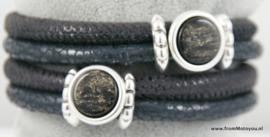 Handgemaakte leren armband mat zwart en grijs leer