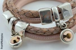 Handgemaakte leren armband licht roze en gevlochten roze