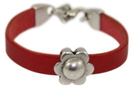 Leren meisjes armband rood leer met bloem