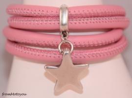 Stars on Colourz roze leren armband met ster bedel