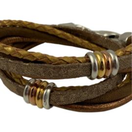 Wikkelarmband leren bandjes brons, taupe en goudkleur met schuivers