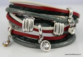 Handgemaakte leren armband rood zwart wit leer diverse bandjes