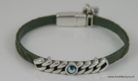 Leren armband donkergroen met metalen schuiver met witte polaris