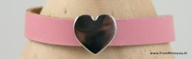 Handgemaakte leren meisjes armband roze leer met hart