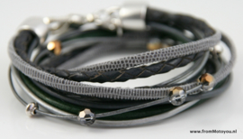 Leren wikkelarmband grijs en donkergroene combinatie