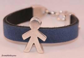 Handgemaakte leren jongens armband jeansblauw leer met schuiver jongen