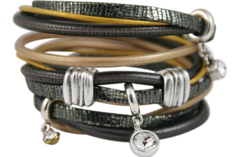 Handgemaakte leren armband grijs en okergeel diverse bandjes
