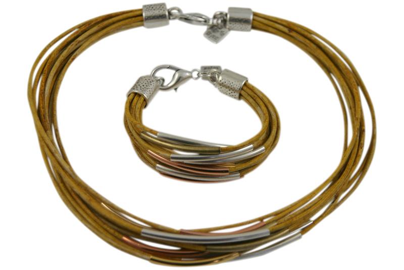 Handgemaakte ketting en armband set geel leer met metaal
