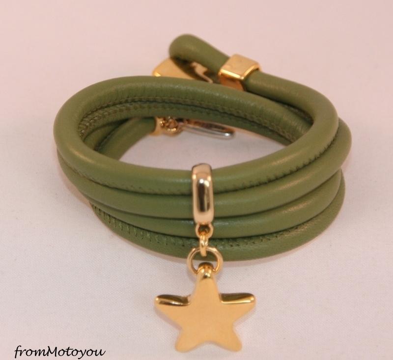 Stars on Colourz leren armband olijfgroen met ster bedel