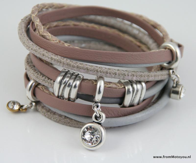 Handgemaakte leren armband roze diverse bandjes