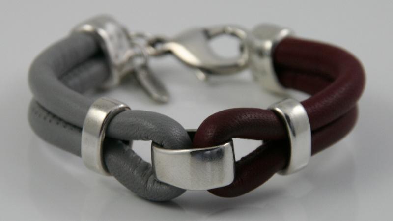 Leren armband bordeaux en grijs, maat S