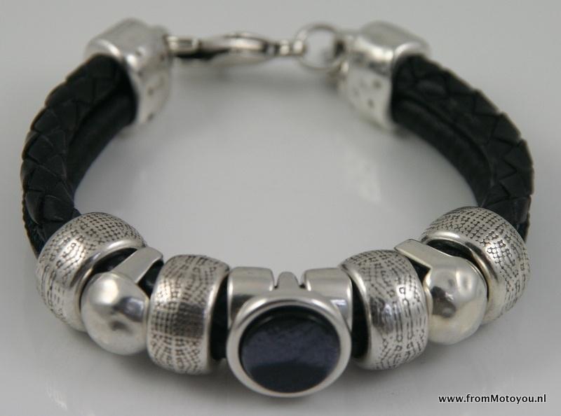 Handgemaakte dames armband zwart snake leer en zwart gevlochten leer