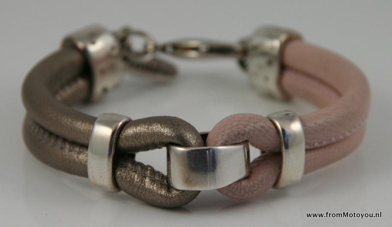 Leren armband brons en roze, maat S