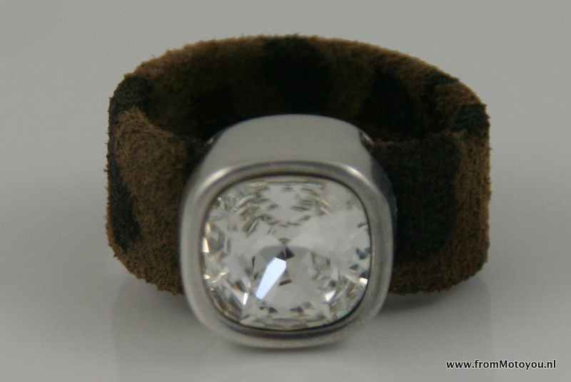 Leren ring luipaardprint bruin