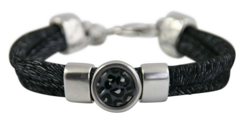 Leren dames armband zwart wit met luipaard print steen