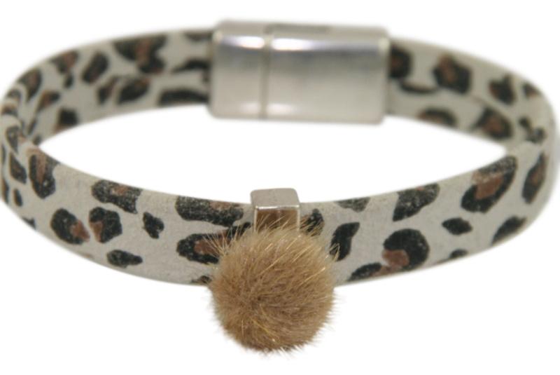 Armband luipaardprint licht met magneetsluiting