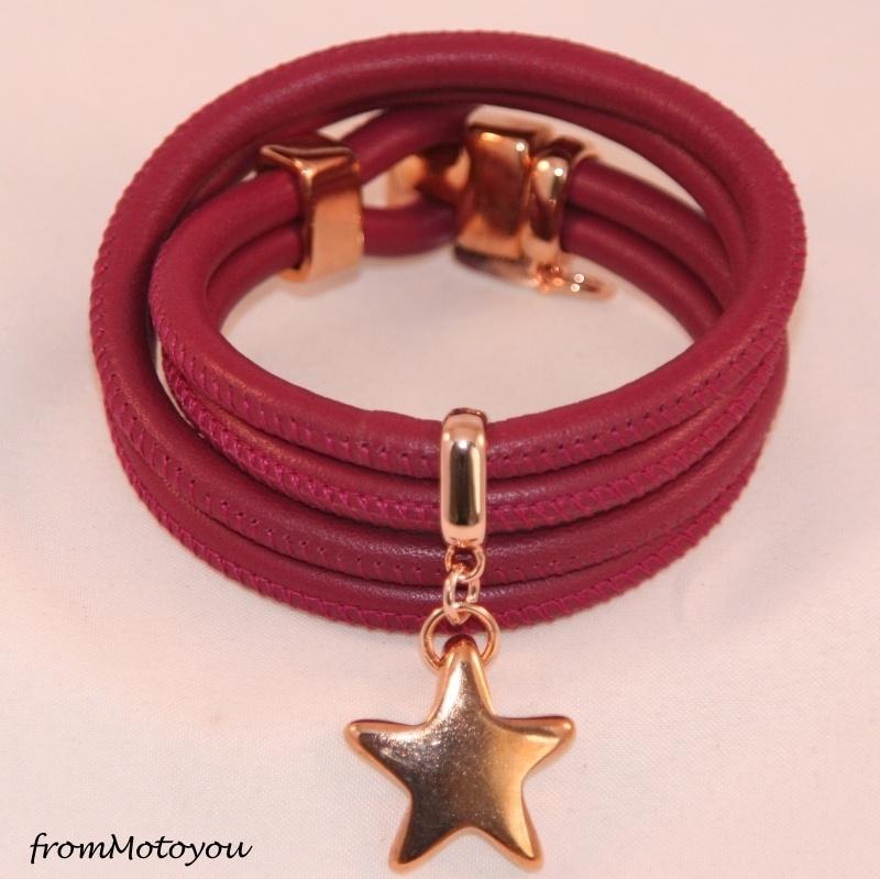 Stars on Colourz leren armband bordeaux cerise met ster bedel