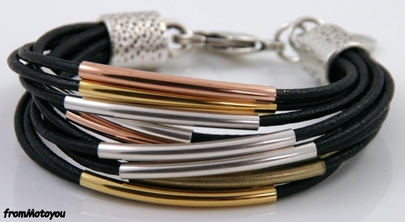 Handgemaakte dames armband leer zwart met metaal