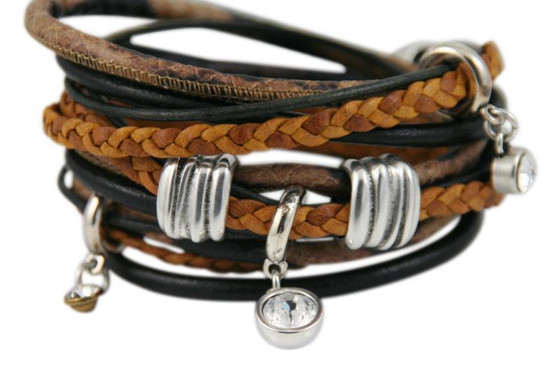 Handgemaakte leren armband bruin zwart en cognac diverse bandjes