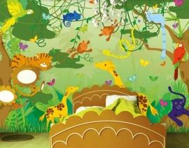 076 COMIC JUNGLE 400x280 Jungle Tekenfiguren Kinderkamer fotobehang met lijm