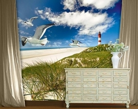 168 LIGHTHOUSE IN DUNES 300x280 Duinen Zee fotobehang met lijm