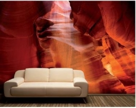 079 ANTELOPE CANYON SUNRAY 400x280 Kloof Amerika Natuur Rood Steen fotobehang met lijm