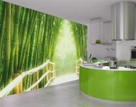 009 BAMBOO WALK 400x280 Doorkijk Groen Natuur fotobehang met lijm