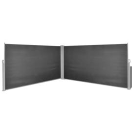 Dubbele Hoek Terrasscherm Antraciet 160x600 cm (bxh) Windscherm Oprolbaar