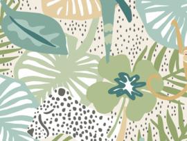 BN Wallcoverings Doodleedo Fotobehang 300440DX Into the Wild/Panter/Papegaai/Apen/Botanisch