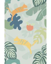 Eijffinger Mini Me  Behang 399123 Tigers Green/Dieren/Fantasie/Jungle/Tijgers/Kinderkamer Fotobehang