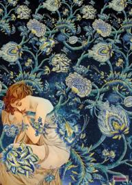 Komar/Noordwand Heritage Edition1 Fotobehang HX4-037 Femme d'Or/Vrouw/Bloemen/Romantisch/Klassiek Behang