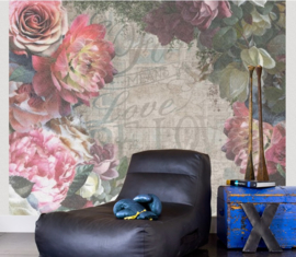 BN Wallcoverings Riviera Maison 2 Digital Fotowand 30609 La Scala/Romantisch/Bloemen/Tekst