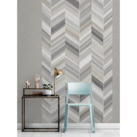 Dutch Wallcoverings One Roll One Motif Behang IW2302 Chevron/Visgraat/Landelijk/Grijs