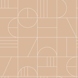 Esta Home Art Deco Behang 156-139208 Modern/Grafisch/Lijnen/Perzik