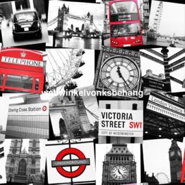 Noordwand Kids@Home Individual Behang 50-841 Fresco London Montage Black/Red/Steden/Tienerkamer