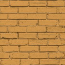 #Hashtag Behang 11072 Baksteen/Stenen/Modern/Landelijk/Oranjegeel