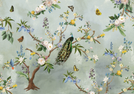 Behangexpresse Floral-Utopia Fotobehang INK7560 Secret Garden Turquoise/Botanisch/Pauw/Bloemen