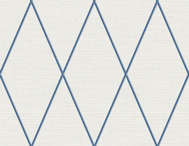 Dutch Wallcoverings Navy, Grey & White Behang BL71802 Grafisch/Modern/Ruit/Blauw