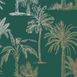 Dutch Wallcoverings Indulgence Behang 12820 Glistening Tropical Trees Teal/Tropical
