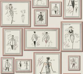 AS Creation Karl Lagerfeld Behang 37846-4 Schetsen/Mode/Fotolijst
