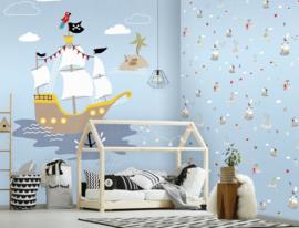Behangexpresse Kate & Andy Fotobehang INK7463 Pirates Blue/Piratenschip/Rovers/Zee/Kinderkamer Behang