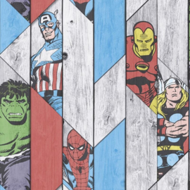 Noordwand Kids@Home Individual Behang 102435 Marvel/Strips/Helden/Hout/Kinderkamer