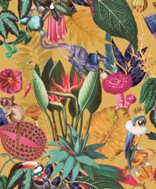 Dutch Wallcoverings/First Class Utopia Behang 91170 Reverie Ochre/Tropisch/Vogels/Papegaai/Bloemen