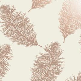 Dutch Wallcoverings Indulgence Behang 12627 Fawning Feather Cream Rosegold/Veren