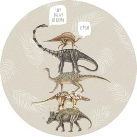 Behangexpresse Sofie & Junar Circle INK350 Live,Dream,Be Brave Sand/Dinosaurus/Bladeren